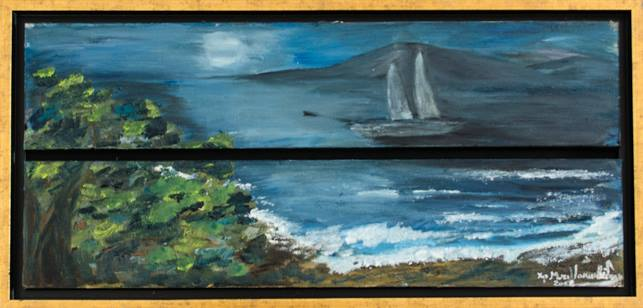 """""""ΤΟ ΜΟΝΟΠΑΤΙ ΤΟΥ ΦΕΓΓΑΡΙΟΥ"""" δίπτυχο (λάδι) της ζωγράφου Χριστίνας Μυτιληναίου Ιακωβίδου"""