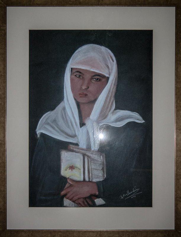 """Πίνακας της Χριστίνας Μυτιληναίου Ιακωβίδου. Τίτλος αυτού """"΄Αρα γε τι;"""" (Παστέλ)"""