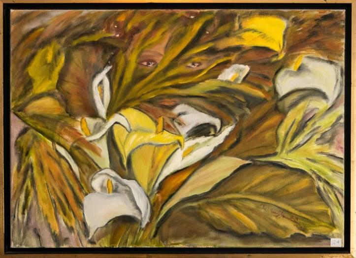 """Πίνακας της Χριστίνας Μυτιληναίου-Ιακωβίδου με τίτλο """" Τα δάκρυα της φύσης"""" (λάδι)"""