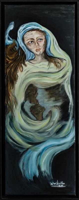 """Πίνακας της Χριστίνας Μυτηλιναίου Ιακωβίδου με τίτλο Τίτλος αυτού του έργου """"ΜΑΝΑ ΓΗ"""" (Λάδι) από τη σειρά έργων της που ένα εκ των οποίων  κοσμεί το εξώφυλλο της ποιητικής της συλλογής """"Κατάθεση ψυχής"""""""